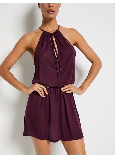 Koton Yaka Detaylı Mini Elbise Mor